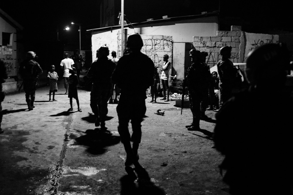UN soldiers on a night patrol through one of the biggest quarters of Cité Soleil