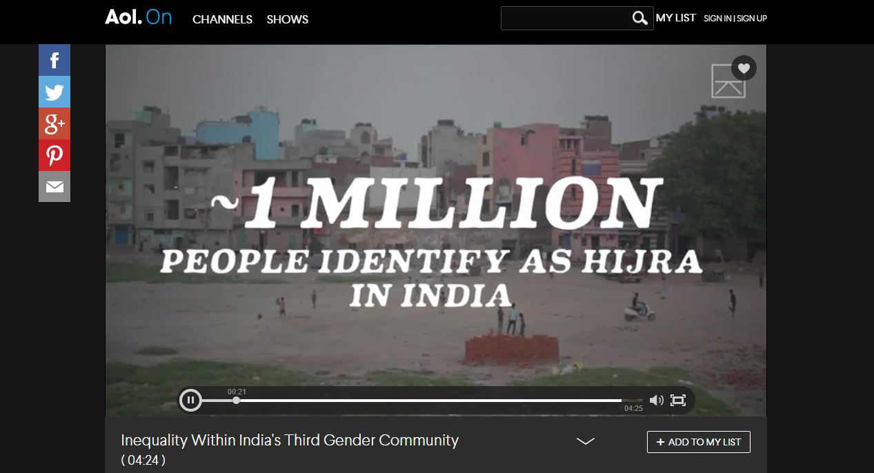 """Inequality Within India's Third Gender Community"" – Aol. On // Director & Cinematographer: Dennis & Patrick Weinert // Producer: Nicolette Bethea & Aneeta Akhurst / Discovery Digital Networks"
