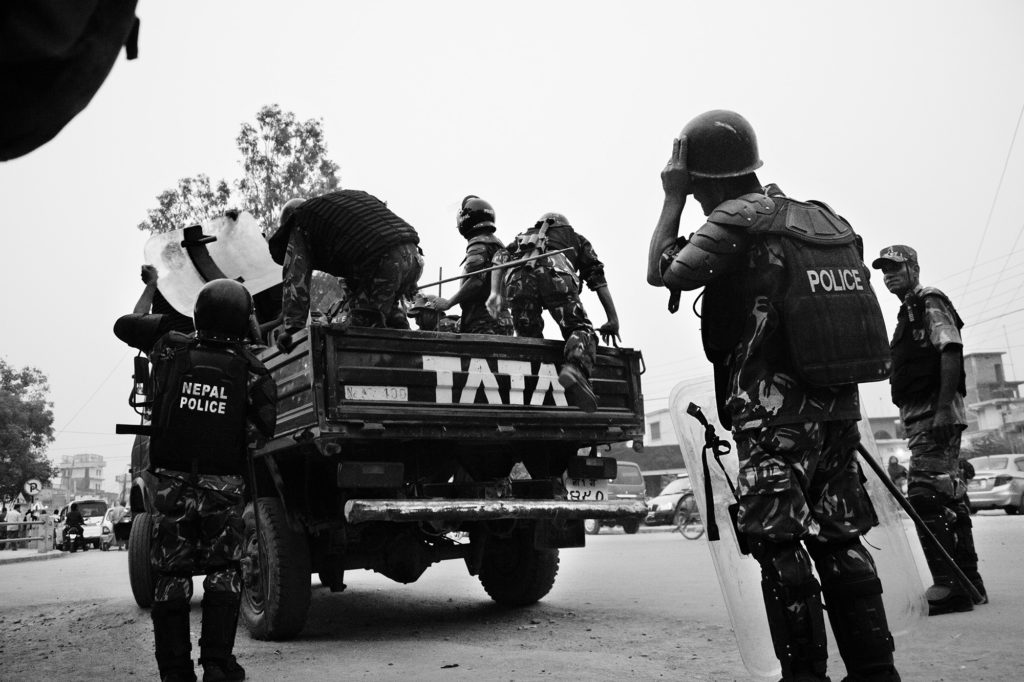 Border police at the Sunauli border crossing between Nepal and India, 2015